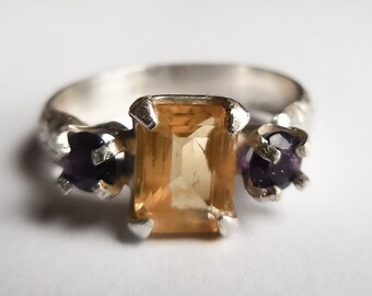 Citrine with African amethyst accents size 7.5 sterling silver ring - in stock and free shipping, on sale!