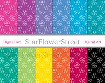 Flower Digital Paper spring floral pattern summer colors printable scrapbook paper digital background pink green black instant download