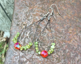 Swarovski Fireopal & Peridot Cable Earrings