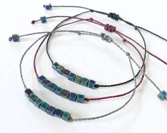 Waxed cord beaded bracelet, black burgundy or gray bracelet, adjustable dainty stackable bracelet