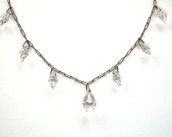 Art Deco  Faceted  Bicone Crystal Drops Necklace Paperclip Chain Marked Czechoslovakia Circa 1930
