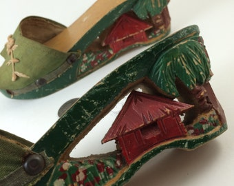 Philippine carved shoes 1940s tourist wooden heels tropical collectable Army wife gift