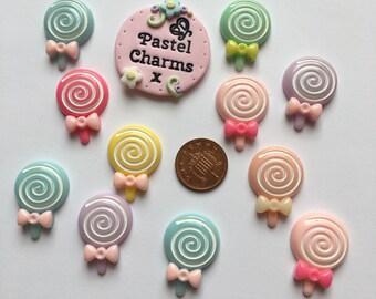 Pack of 10 resin pastel lolly pops embellishments