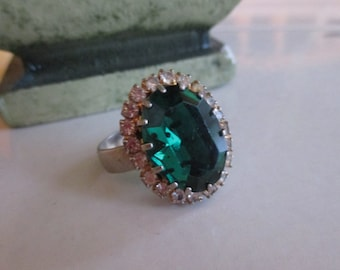 Vintage 1940's Large Emerald Green Rhinestone Ring, Adjustable Silver Tone Band, Gift For Her, Emerald Rhinestone Ring