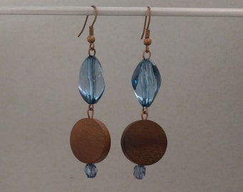 Wood and Blue Bead Dangle Earring with Bronze Chain and French Hook. Great Gift for Mom, a Teen, Wife, Girlfriend, Christmas. WB