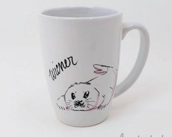 Dirty Dishes-- Rated G-- Seal - coffee - coffee mug - ceramic mug - baby seal - tea - tea mug