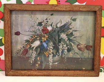 Vintage Floral Wooden Framed Print Like Vernon Ward Flowers Kitsch