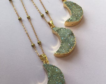 Crescent Moon Druzy Pendant Necklace - Brass Satellite Chain, Gold Electroplate