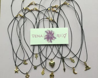 Tiny Charm Choker - Hemp, Black, Gold, Charms, Layer Necklace, Simple, Minimalist