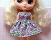 BLYTHE Middie doll Its my party dress - LIBERTY Rosalind blue & purple