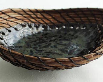 Oval Basket Pine Needle Basket Pine Needle Pottery Basket Native American Basket For Him Basket For Her Housewarming Basket Candy Basket