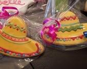 Mexican Sombrero Decorated Vanilla Sugar Cookies - 1 Dozen
