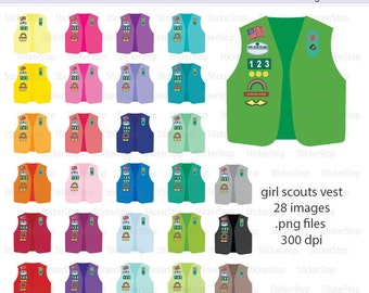 Colorful Girl Scout Vest Icon Digital Clipart in Rainbow Colors - Instant download PNG files
