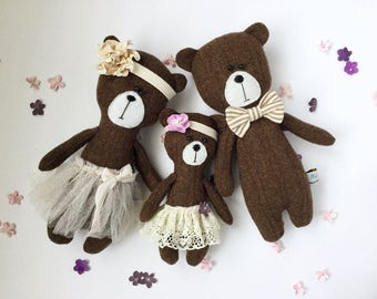 Bear, wool bear, bear family, stuffed animal, three bears