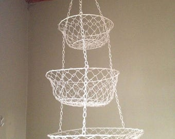 Vintage 1970s Three Tiered Hanging Metal Wire Baskets