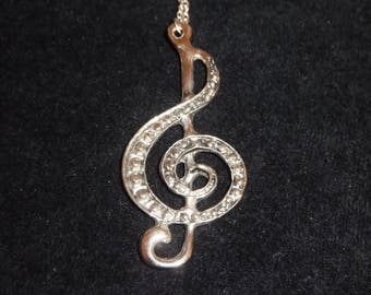 Treble Clef Necklace, Silver Music Note Pendant Necklace, Long Necklace, Art, Clearance Sale, Boho, musician jewelry, Valentines Day Gift