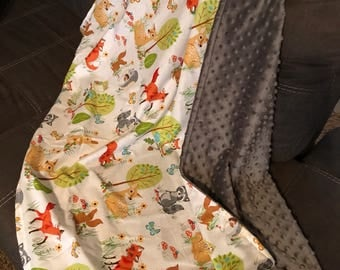 Forest Woodland Creatures minky blanket
