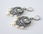 Chakra earrings with white cultured freshwater pearls and large oriental style metal connectors, lever back french hooks, allergen free