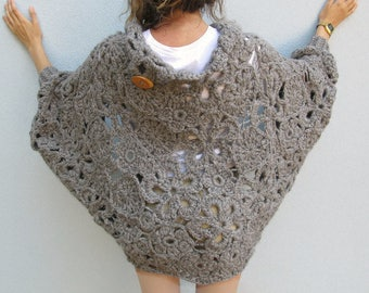 Crochet FREEFORM Cardigan Oversize One Size Woman Overcoat Sweater  Ecologic Wool medium grey