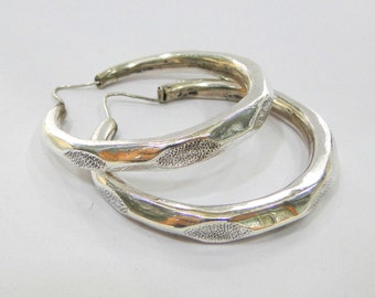 925 Sterling Silver Jewelry Hoop Earring Pair Rajasthan India