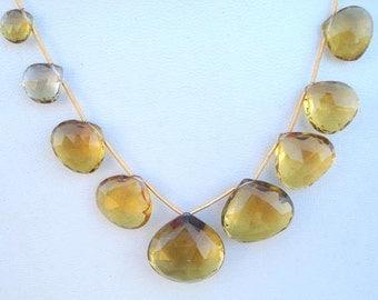 136 ctw AAA Honey Quartz Faceted Briolette Beads Strand