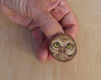 Pyrography - Woodburning - Brooch - Owl