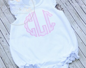 Girls Monogram Baby Bubble - Ruffled Baby Romper - Monogram Ruffle Romper - Girl Bubble Romper