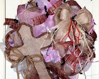 Burlap Wreath, Burlap Cross Wreath, Spiritual Wreath, Country wreath with cross, burlap cross wreath, anytime wreath,  Rustic Easter Wreath