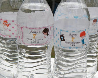 First Communion Water Bottle Labels - Personalized First Communion Water Bottle Labels - Baptism Party Favors - Communion Water Bottles