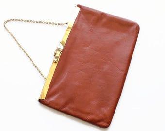 Vintage Brown Leather Clutch Purse, Designer Etra, Circa 1960's
