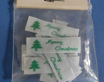"Packet of 12 Woven Ribbon Labels for Needlework ""Merry Christmas"" Unopened"