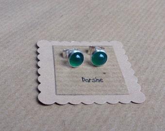 Green Stud Earrings, Green Studs, Green Earrings, Sterling Silver earrings, Green Agate Studs, gemstone studs