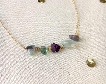 Gemstone choker, womens jewelry, layering necklace, choker, dainty necklace, womens necklace, festival necklace, boho necklace, fluorite