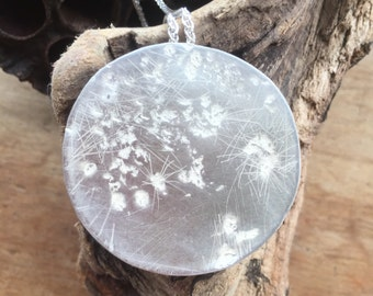 Sterling Silver Moon necklace ready to post Pendant necklace Large Super moon hand textured with Cornish beach stones