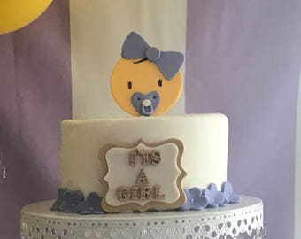 Emoji baby shower or girl emoji with bow fondant cake topper