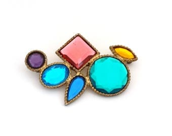 "Vintage Large Colorful Pin Brooch Multi Color Plastic ""Stones"" Gold Tone Metal Mirrored Open Backs Art Deco Geometric Design"