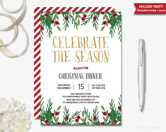 Celebrate the Season Invitation Christmas Invitation Printable Holiday Invitation Christmas Party Dinner Holiday Dinner Office Party Gold