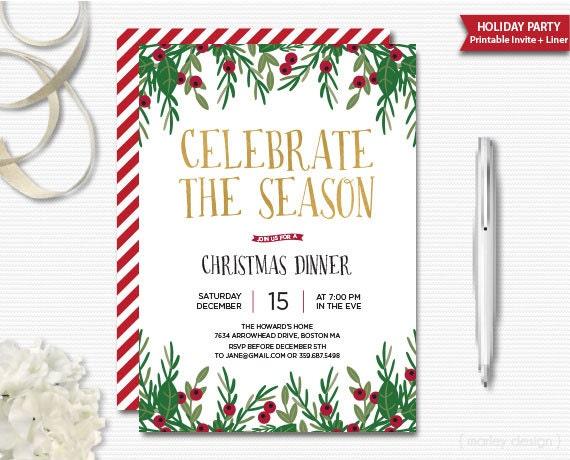 Celebrate the season invitation christmas invitation printable il570xn stopboris Images