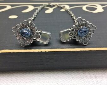 Montana Blue Vintage sweater clips antique silver filigree Swarovski Crystal star cabochon