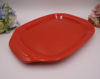 """Near Mint Vintage 1940s Bauer Pottery Ring Ware  12"""" Orange Serving Platter or Tray"""