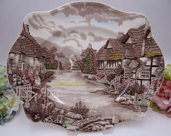 "Vintage Johnson Bros Staffordshire ""Olde English Countryside"" 12"" Oval Serving Platter"