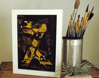 Black and earth tones abstract original painting - Acrylic paint on canvas board with frame