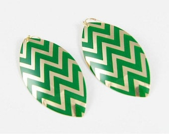 Green and Gold Chevron Earrings