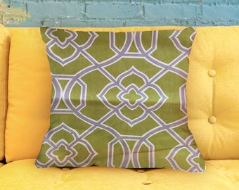 """Trellis: Chartreuse & Gray Pillow Cover 18"""""""