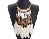 After Life Accessories Handmade White Feather Tassel  Bib Gold Tone Seed Beads Necklace