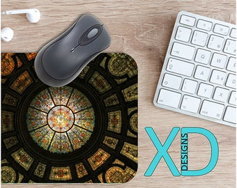 Stained Glass Mouse Pad, Stained Glass Mousepad, Mosaic Rectangle Mouse Pad, Multiolor, Mosaic Circle Mouse Pad,  Stain Glass Mat, Computer