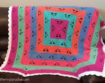 Crochet Pattern Afghan Throw Blanket Radiating Dragonflies PDF 16-E