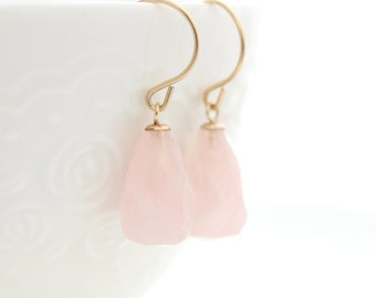 Rose quartz drop gold earrings • October birthstone • Pastel pink earrings • Gift for her