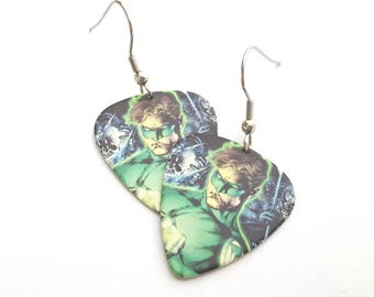 Green Lantern Guitar Pick Earrings with Stainless Steel Earwires
