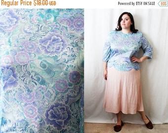 CLEARANCE - FINAL SALE - Plus Size - Vintage Pastel Floral Print Blouse (Size 18)
